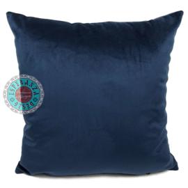 Donkerblauw velvet kussen passend bij veren/bladeren kussen ± 45x45cm