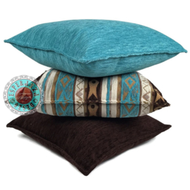 Turquoise kussen - Mediterraan ± 70x70cm