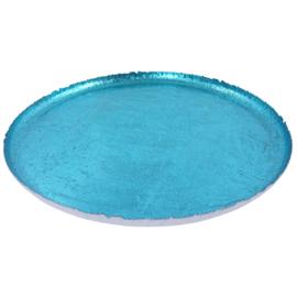Groot turquoise metalen dienblad 50cm dia en 3cm hoog