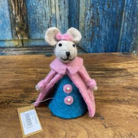 Baby muis vilt roze met blauw12x7x7cm
