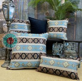 Vintage blauw met zwart kussen - kelim ± 45x45cm
