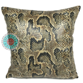 Slangenprint kussen python oker met zwart ± 45x45m