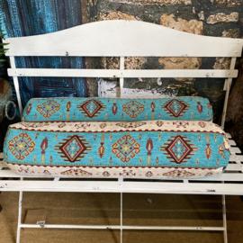 Rolkussen - Navajo turquoise plus binnenkussen ± 80cm dia 20cm