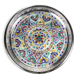 Zilverkleurige schaal Mandala  28cm x 2.5cm