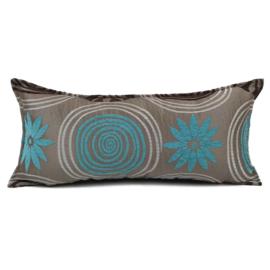 Turquoise kussen - Cirkels metallic taupe ± 30x60cm