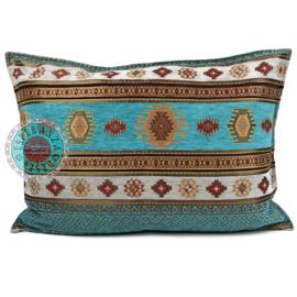 Turquoise kussen - Aztec ± 50x70cm