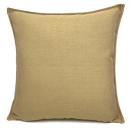 Esperanza Deseo ® kussen - Linnen meubelstof met fijne lus - Taupe met okergeel ± 45x45cm
