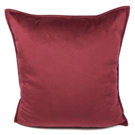 Cerise roze velvet kussen passend bij veren/bladeren kussen ± 45x45cm