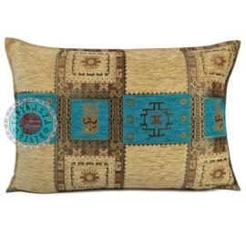 Inca turquoise en creme kussen ± 50x70cm