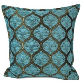 Turquoise kussen - Honingraat met goud patroon ± 45x45cm