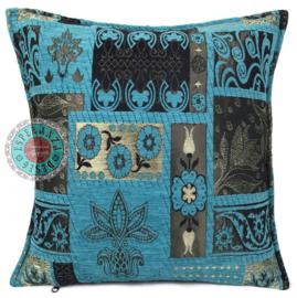 Turquoise kussen - Patchwork flowers ± 45x45cm