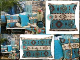Turquoise kussen - Navajo ± 50x70cm
