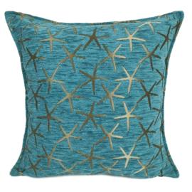 Turquoise kussen - Starfish brons ± 45x45cm