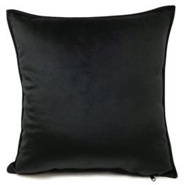 Velvet zwart kussen passend bij veren/bladeren kussen ± 45x45cm