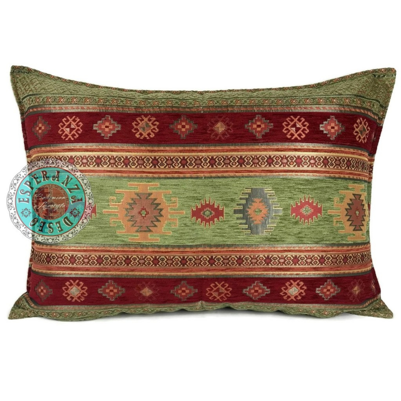 Aztec olijfgroen en rood kussen ± 50x70cm