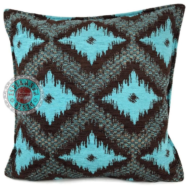 Turquoise met bruin kussen - met ruit/kelim (bruin) patroon ± 45x45cm