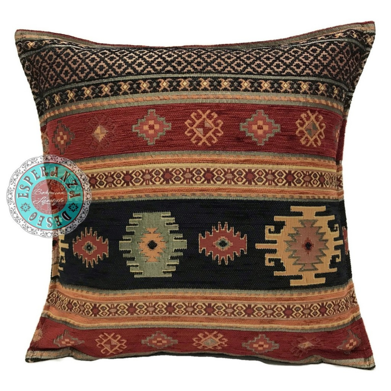 Aztec zwart en rood kussen ± 45x45cm