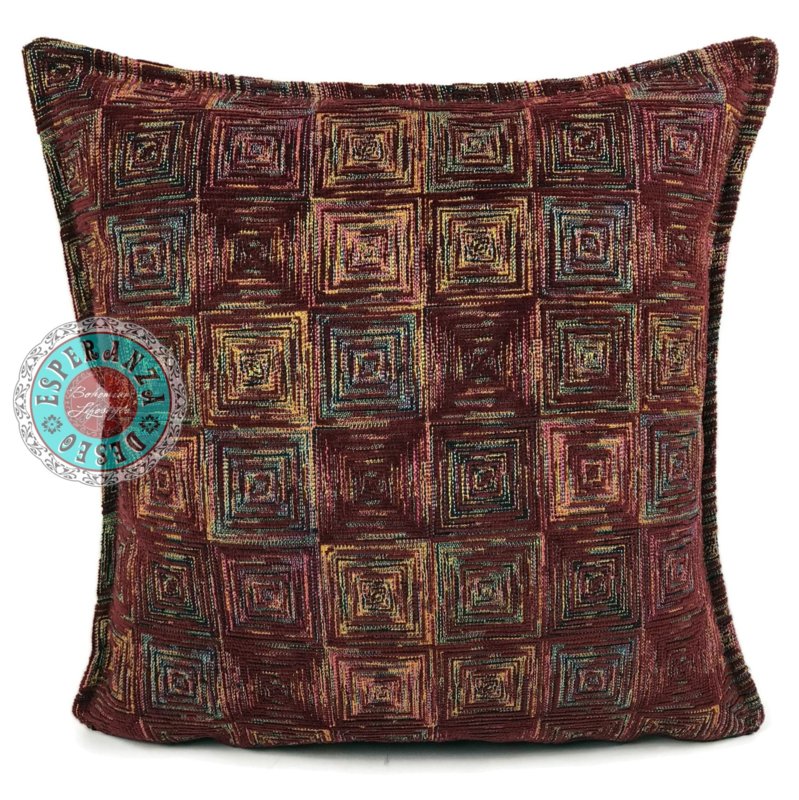 Sierkussen Exclusive Art collection burgundy square ± 45x45cm