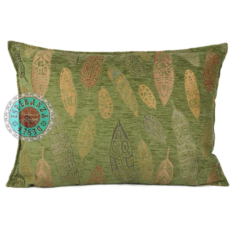 Olijf groen kussen - Boho Feathers ± 50x70cm