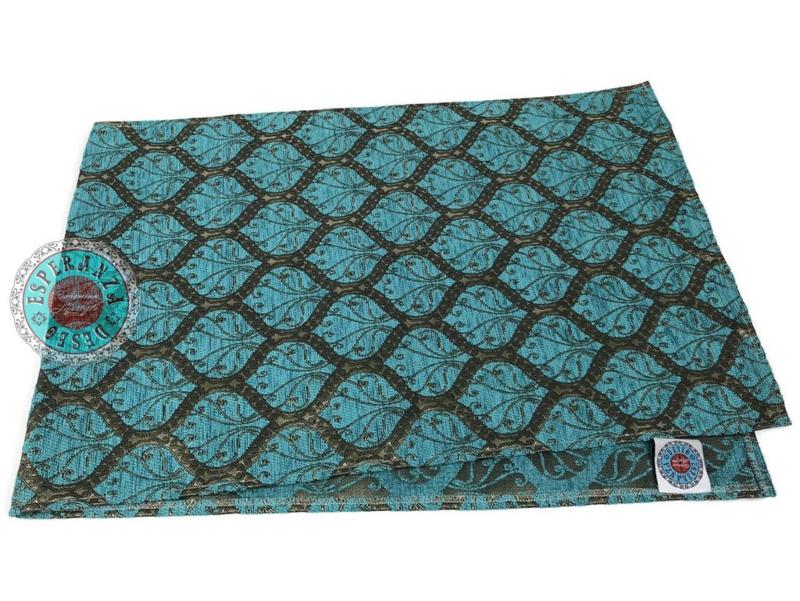 Turquoise tafelloper model Honingraat 45x300cm