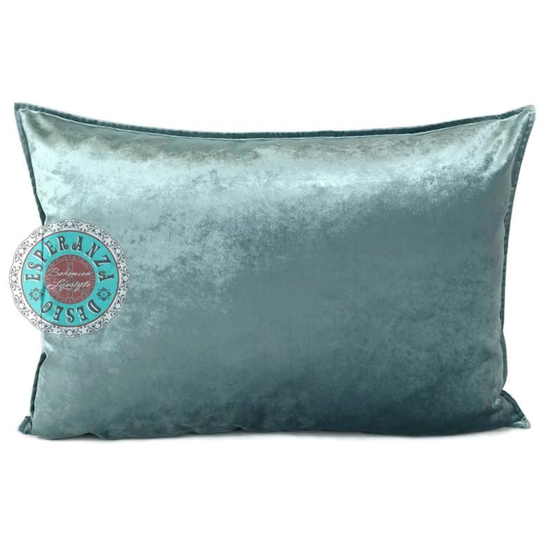Velvet kussen Jade grijs - Peacock ± 50x70cm