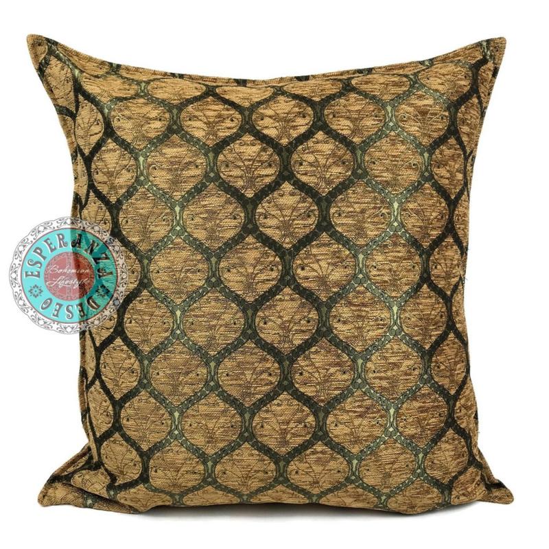 Donker okergeel kussen - Honingraat (goud motief) ± 70x70cm