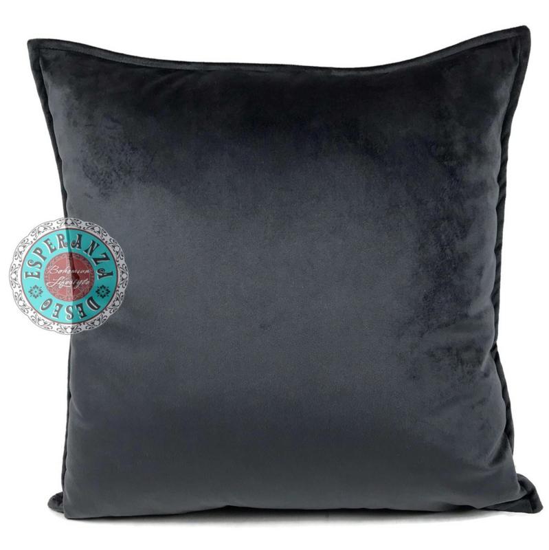 Velvet antraciet grijs kussen passend bij veren/bladeren kussen ± 45x45cm
