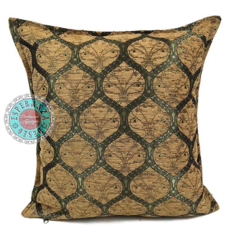 Donker okergeel kussen - Honingraat (goud motief) ± 45x45cm