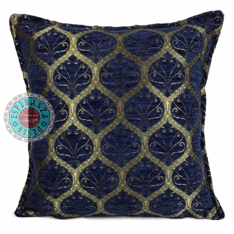 Honingraat donkerblauw kussen brons motief ± 70x70cm