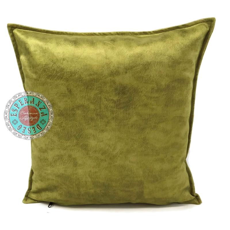 Velvet kussen lime groen (14001) ± 45x45cm