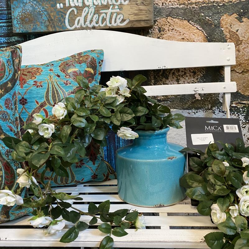 Witte zijden hang rozen op steel 80cm (Mica)