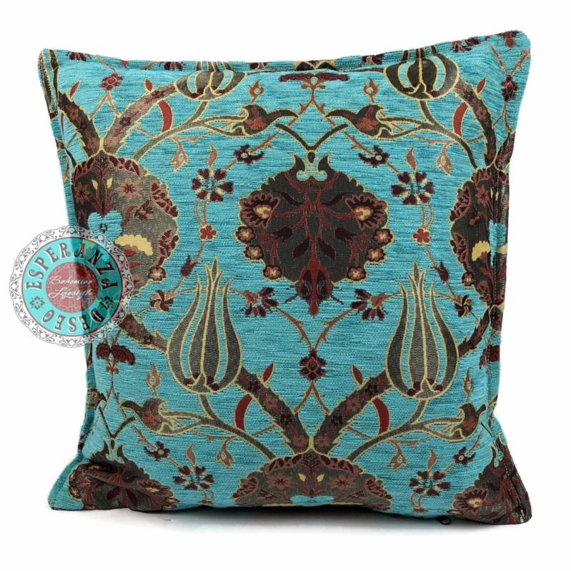 Turquoise kussen - Flowers ± 45x45cm
