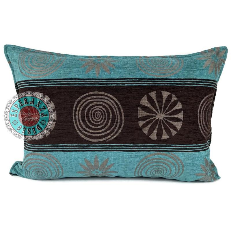 Turquoise kussen - Cirkels bruin ± 50x70cm