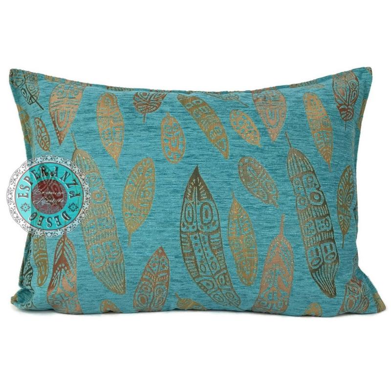 Turquoise kussen - Boho Feathers ± 50x70cm