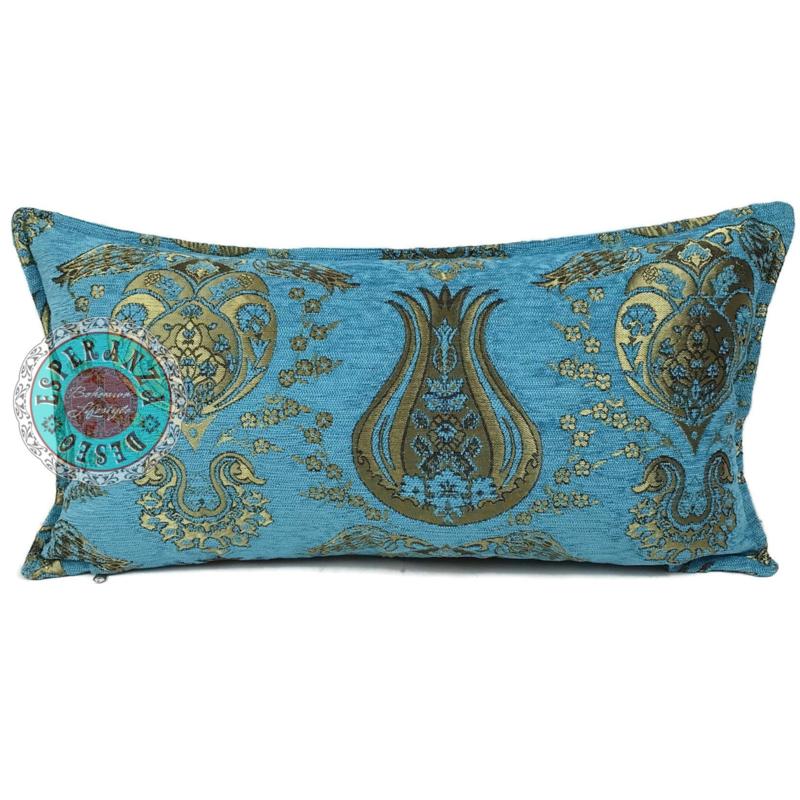 Turquoise kussen - Tulip Gold ± 30x60cm