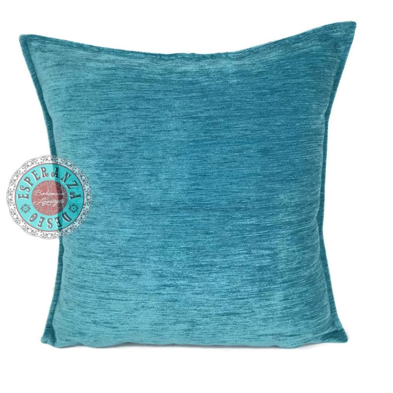 Turquoise kussen ± 70x70cm