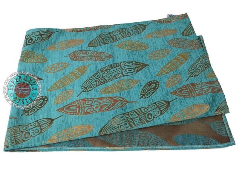 Turquoise tafelloper model Boho feathers 45x200cm