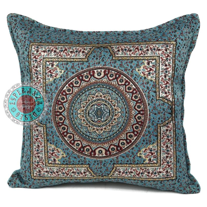 Blauw met rood kussen - Mandala round ± 45x45cm