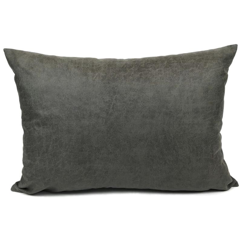 Leatherlook kussen in de kleur donker grijs ± 50x70cm