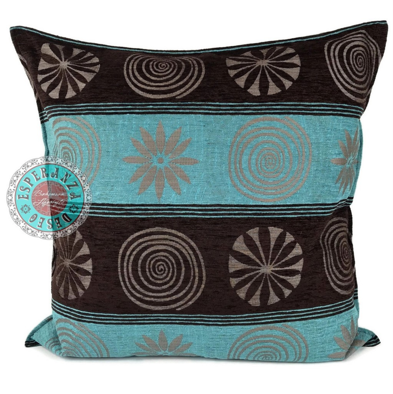 Turquoise kussen - Cirkels bruin ± 70x70cm