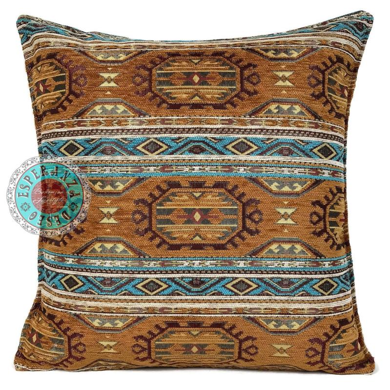 Camel en turquoise kussen - Maya ± 45x45cm