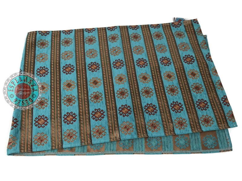 Turquoise tafelloper model Peru stripes 45x200cm