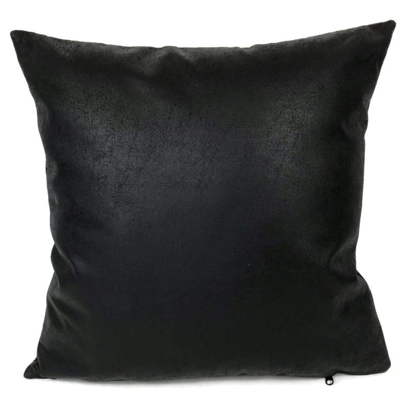 Leatherlook kussen in de kleur zwart ± 45x45cm