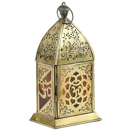 Oosterse lantaarn OHM goud/geel glas 7.5×10×20cm