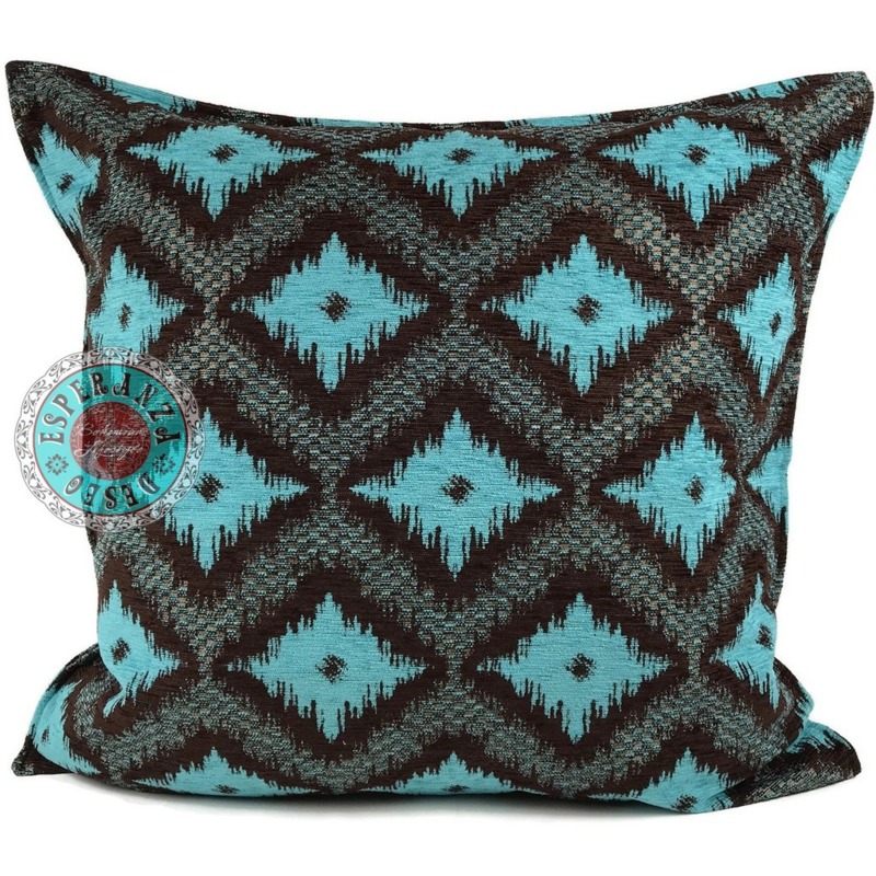 Turquoise met bruin kussen - met ruit/kelim (bruin) patroon ± 70x70cm