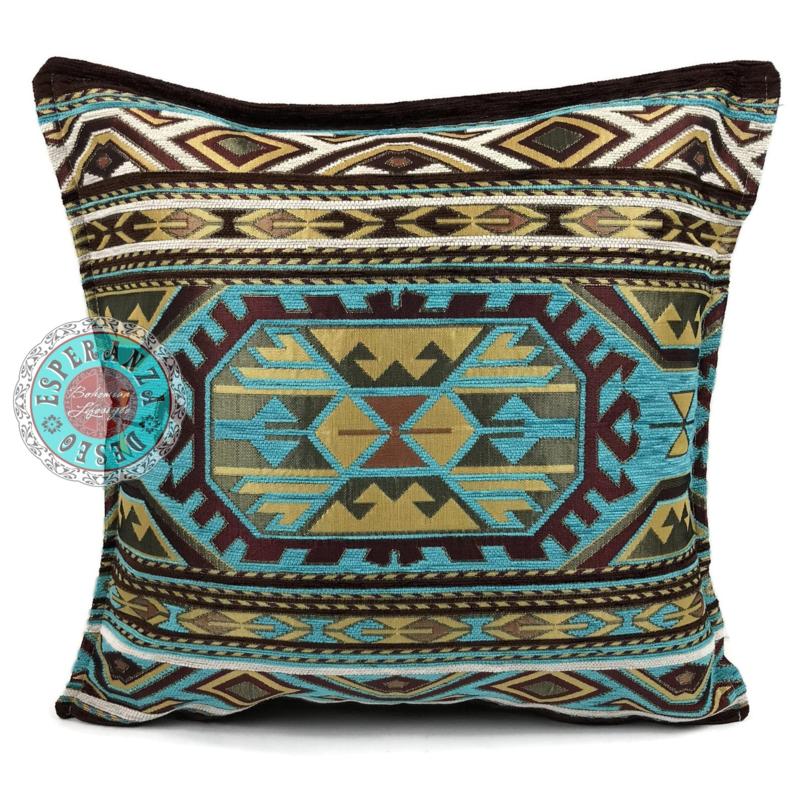 Turquoise kussen - Maya ± 45x45cm