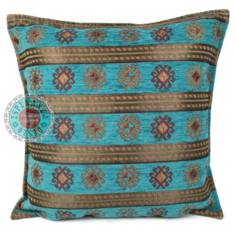 Turquoise kussen - Peru stripes ± 45x45cm