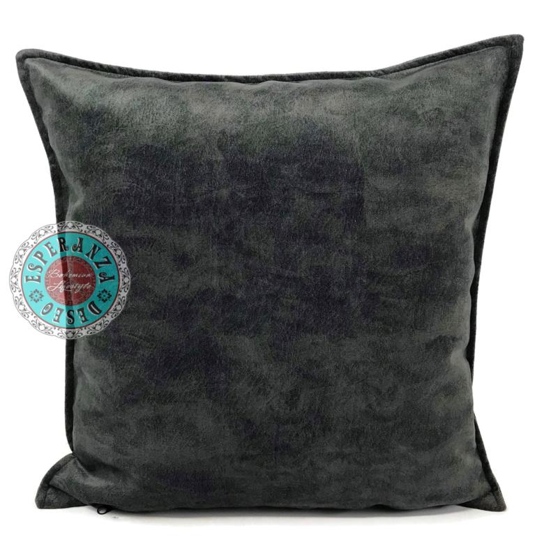 Velvet kussen donker antracietgrijs (12021) ± 45x45cm