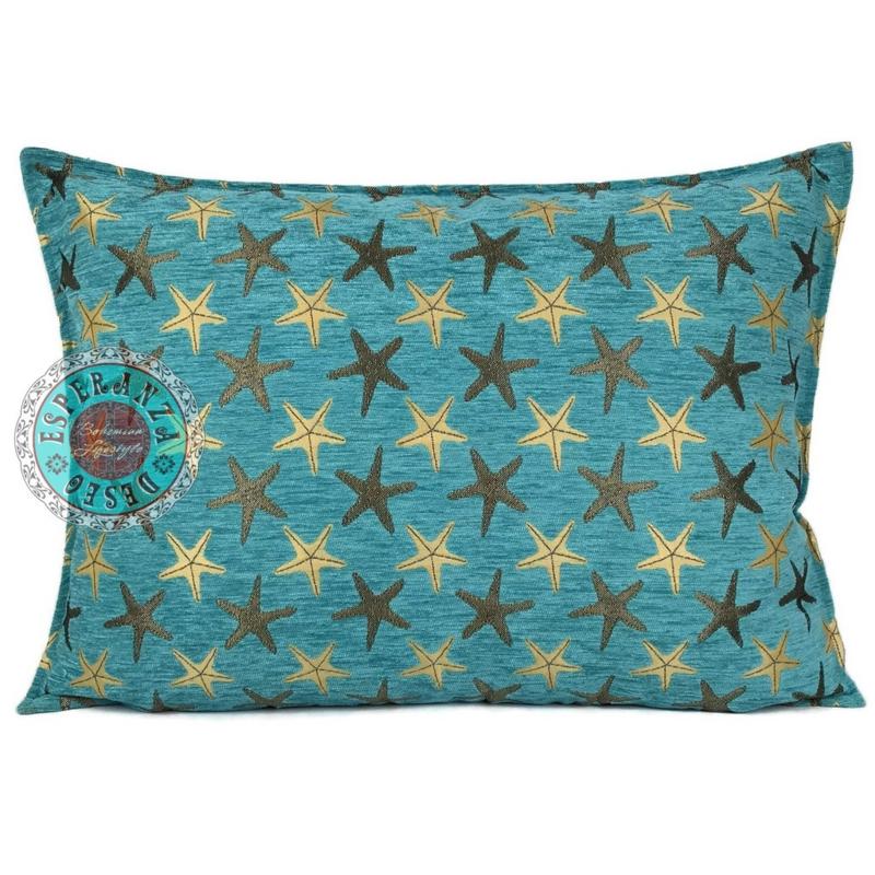 Turquoise kussen - Starfish (zeesterren) ± 50x70cm