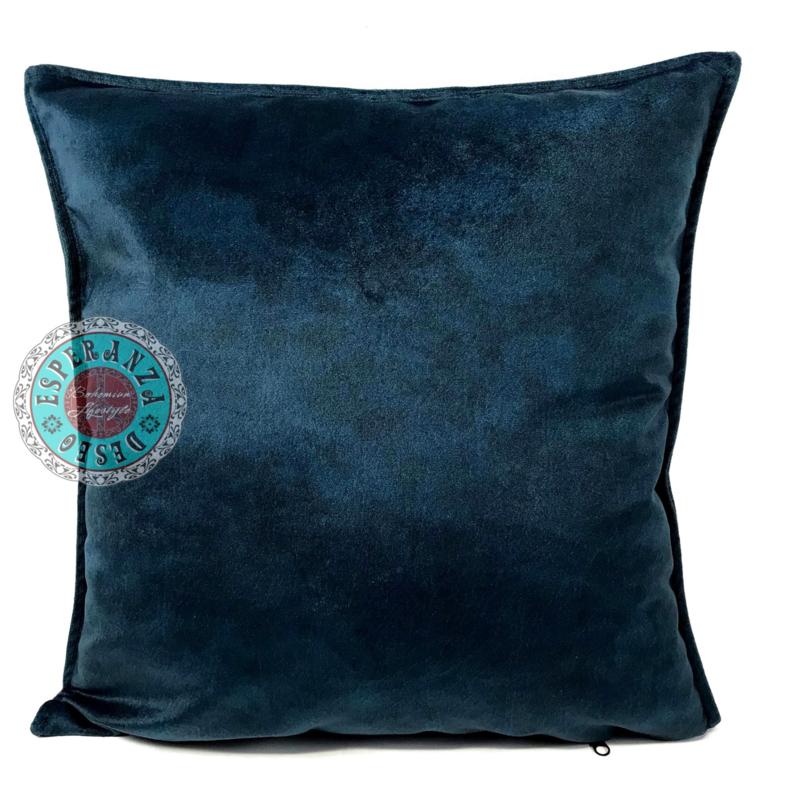 Velvet kussen donker petrol blauw (10021) ± 45x45cm
